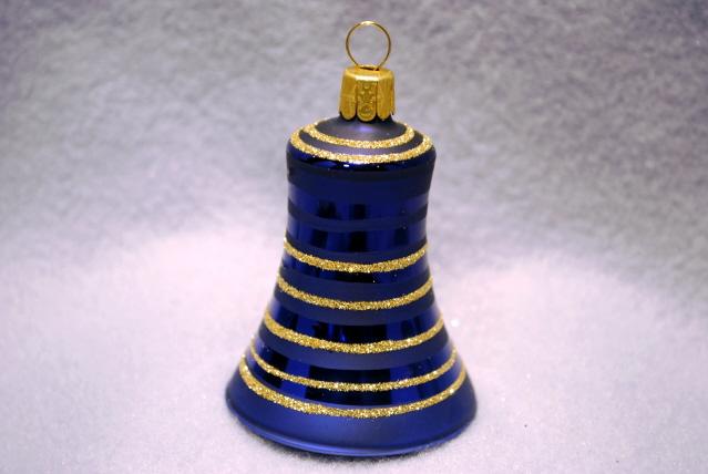 Klocka blå med guldglitter 5,5cm