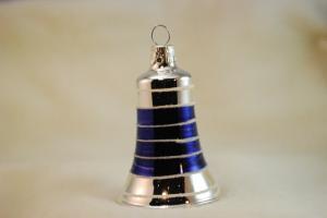 Klocka silver med blå blanka fält