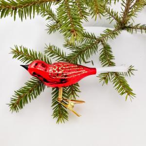 Fågel röd blank