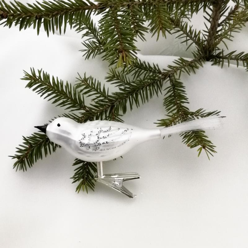 Fågel silver matt