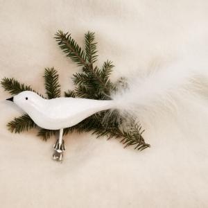 Fågel vitt multiglitter