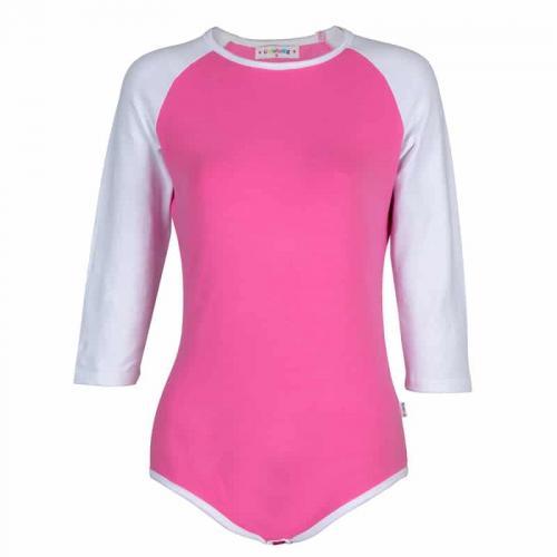 Baseball Reglan Sleeves Pink Onesie Bodysuit
