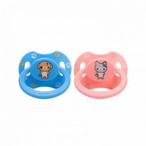 Kitty Pink & Puppy Blue Printed Pacifier Set