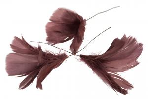 Fjäder/Tråd Blom Mörkrosa