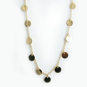 Coin Necklace, Gold - Long
