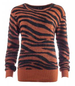 New Odd Things Stickad Tröja - Pullx LS Burned Orange Tiger Knit