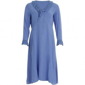 Dress in viscose with v-neck and ruffle - Sky blue