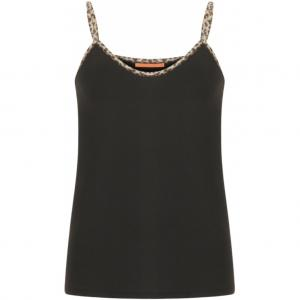 Strap Top With Leopard Tape - Black & White