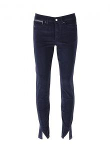 Corduroy Pants With Small Slits - Blue