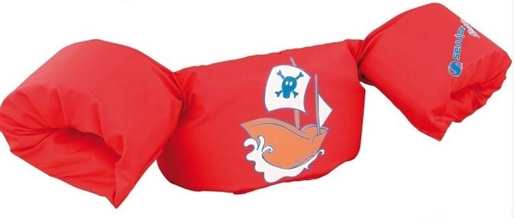 Armkuddar med midjebälte, Pirate Boat Röd Puddle Jumper