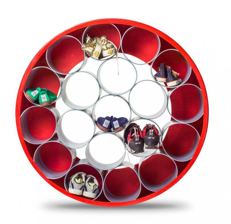Storage Compartment Round, red and grey