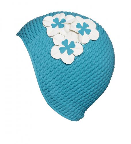 Swim cap bubble, Aqua with 3 small flowers