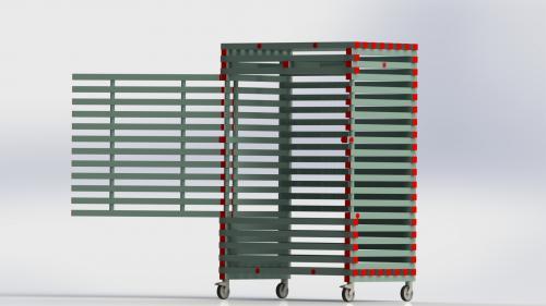 Vagn för upphängning med låsbar dörr