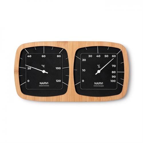 Bastutermometer och hygrometer i Aluminium/bambu