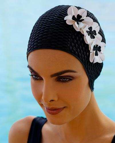 Swim cap bubble, black with 3 little flowers