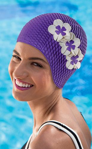 Swim cap bubble, purple (311955) with 3 small flowers