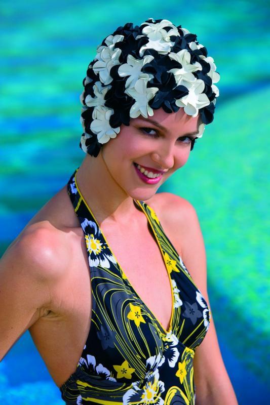 Swim cap Flowery black/white