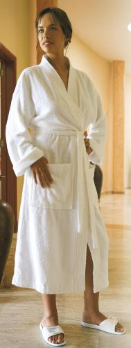 Bathrobe terry fabric WHITE
