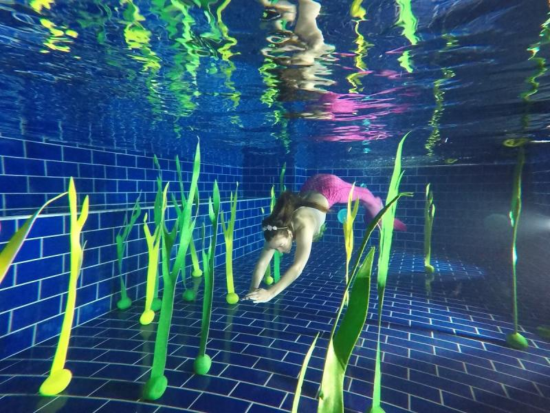 Sjögräs till sjöjungfrusim Mörkgrön 120cm
