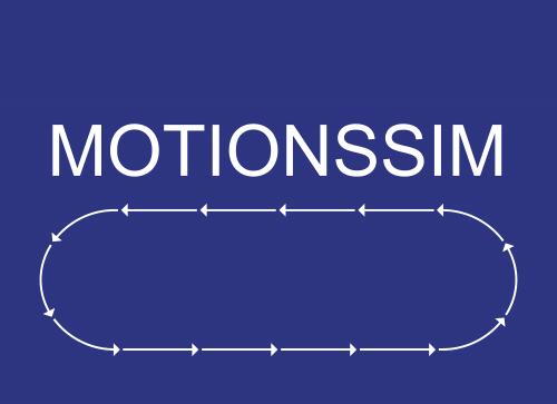 Skylt Text. Motionssim + pilar mot vänster