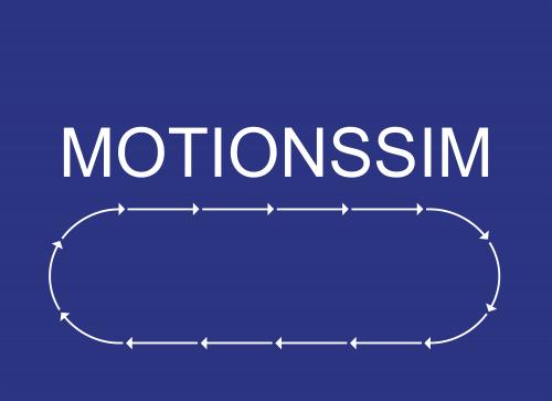 Skylt Text. Motionssim + pilar mot höger