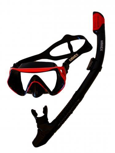 Cyklop med snorkel, vuxen Miwex svart/röd, svart/blå