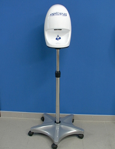 Disinfection Shower for hands incl. rolling footrest