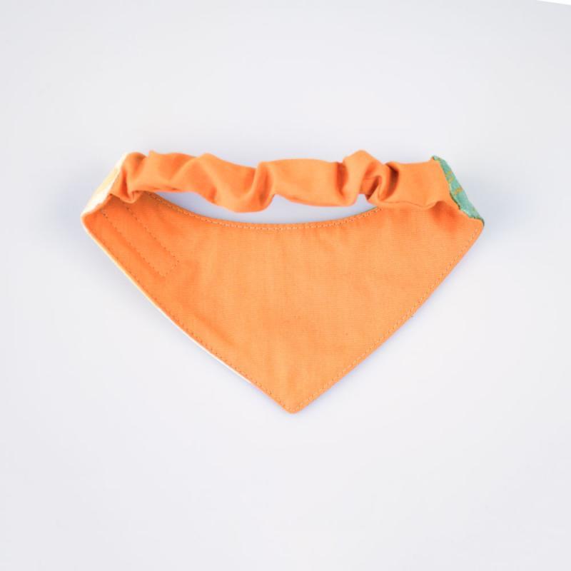 Baksidan av scarfs till hund med resår i färgen orange.