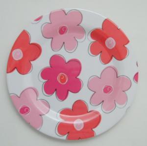Plast tallrik rosa/grön