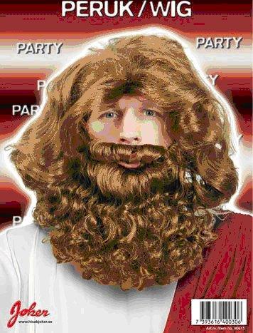 Peruk Heligman med skägg och mustasch