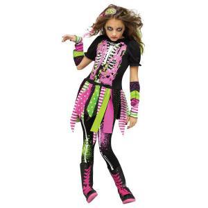 Barn Skelett dräkt neon Flicka