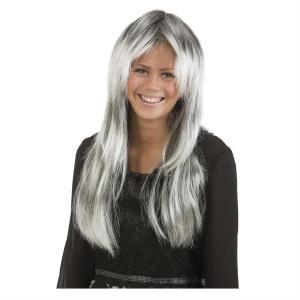 Peruk Grått långt hår