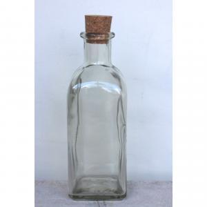 Glasflaska  fyrkant med kork 50cl