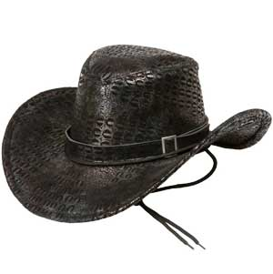 Cowboyhatt Svart fejk ormskinn