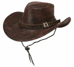 Cowboyhatt ormskinn fejk Brun