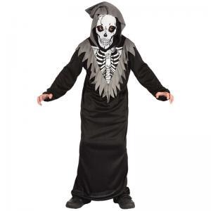 Skelett med kåpa och mask