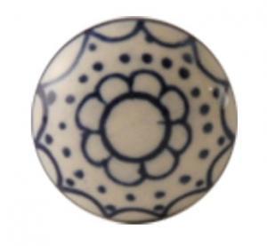 Beslag Knopp vit med blå blomma