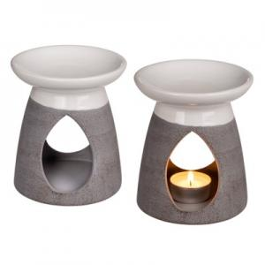 Aromalampa keramik Vit-Grå H12cm
