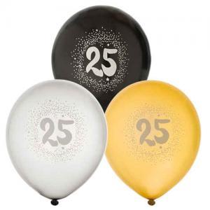 Ballonger 6pack 25År Guld, Silver och Svart