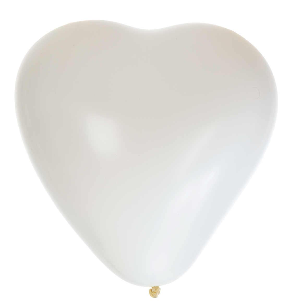 "Ballong 15"" vit hjärta 8-pack"
