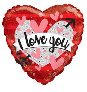 Folieballong Hjärta I Love you Holografisk