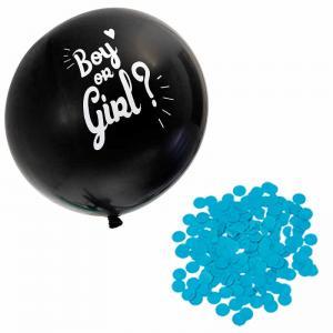 Ballong svart Boy/Girl Blå konfetti