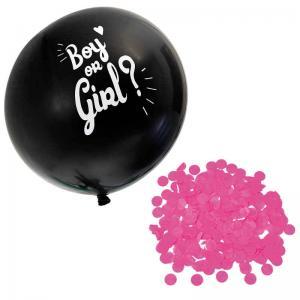 Ballong svart Boy/Girl Rosa konfetti