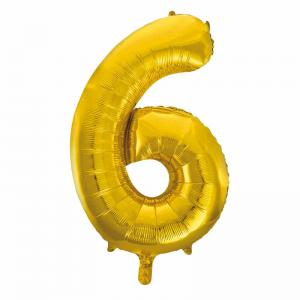 Folieballong Guld 0-9 H86cm