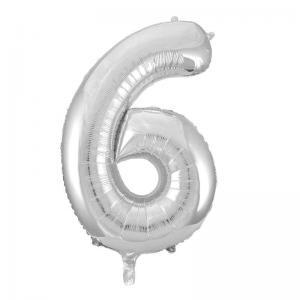Folieballong Silver 0-9 H86cm