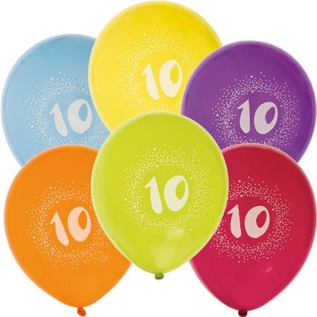 Ballonger med siffror 6pack 1-10år