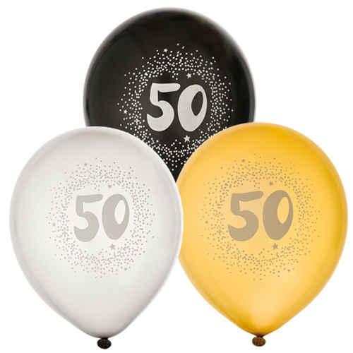 Ballonger 6pack 50År Guld, Silver och Svart