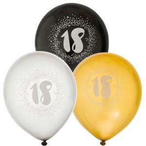 Ballonger 6-pack 18år 2x silver2x guld2x svart