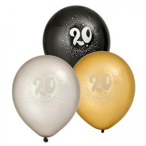 Ballonger 6-pack 20år 2x silver2x guld2x svart