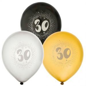 Ballonger 6-pack 30år 2x silver2x guld2x svart